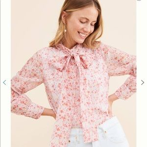Anthropologie Glamorous Ditsy Floral Bow Blouse XS